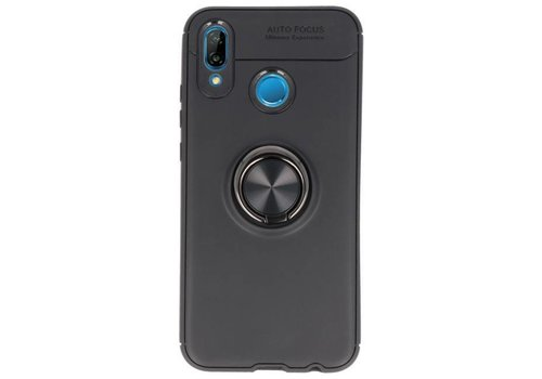 Softcase voor Huawei P20 Lite Hoesje met Ring Houder Zwart