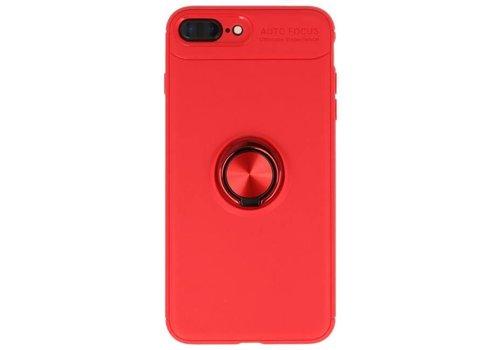 Softcase voor iPhone 8 / 7 Plus Hoesje met Ring Houder Rood