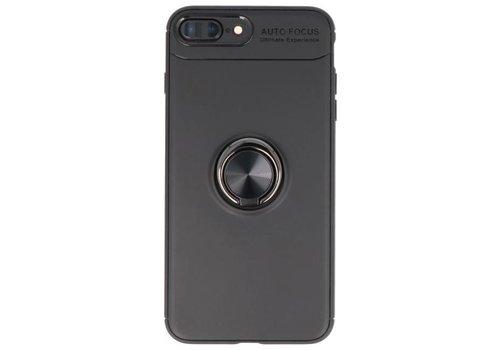 Softcase voor iPhone 8 / 7 Plus Hoesje met Ring Houder Zwart