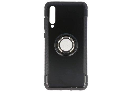 Pantser TPU Hoesje Ring Houder voor Huawei P20 Pro Zwart