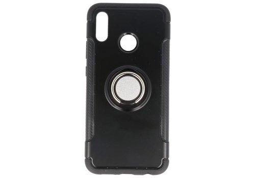 Pantser TPU Hoesje Ring Houder voor Huawei P20 Lite Zwart