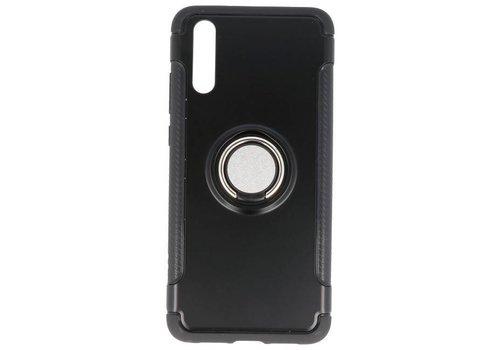 Pantser TPU Hoesje Ring Houder voor Huawei P20 Zwart