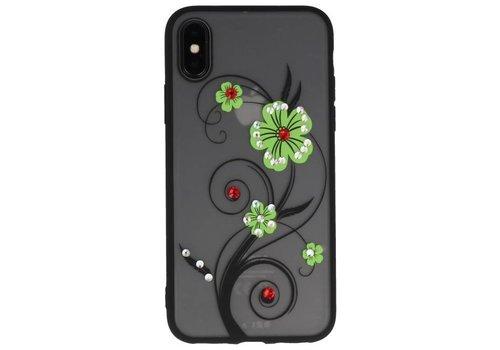 Diamand Lelies Hoesjes Cases voor iPhone X Groen