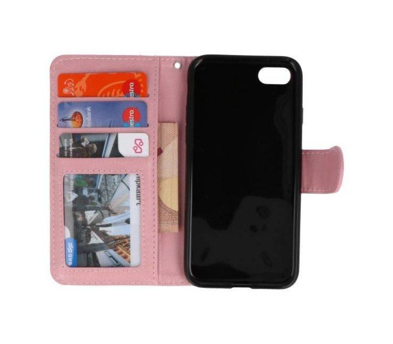 Backcase Bookhoesje voor iPhone 7 / 8 Baby Roze