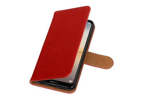 Pull Up PU Leder Bookstyle voor Huawei P20 Lite Rood