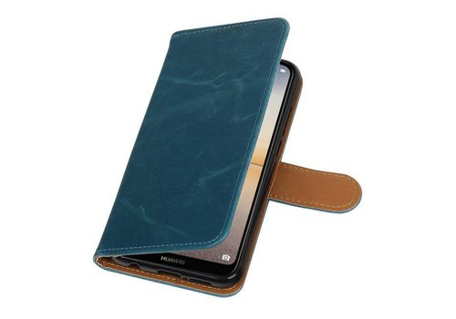 Pull Up PU Leder Bookstyle voor Huawei P20 Lite Blauw