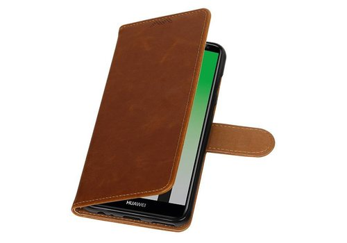 Pull Up PU Leder Bookstyle voor Huawei P20 Bruin