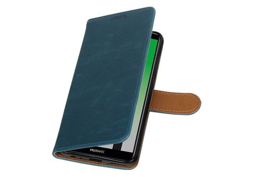 Pull Up PU Leder Bookstyle voor Huawei P20 Blauw