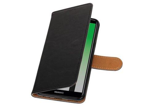 Pull Up PU Leder Bookstyle voor Huawei P20 Zwart