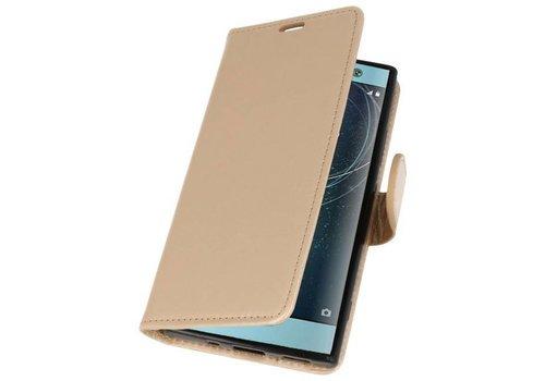 Wallet Cases Hoesje voor Xperia XA2 Goud