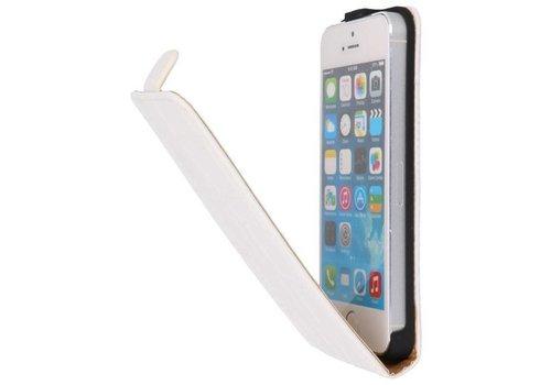 Croco Flip Hoes voor iPhone 5 / 5s Wit