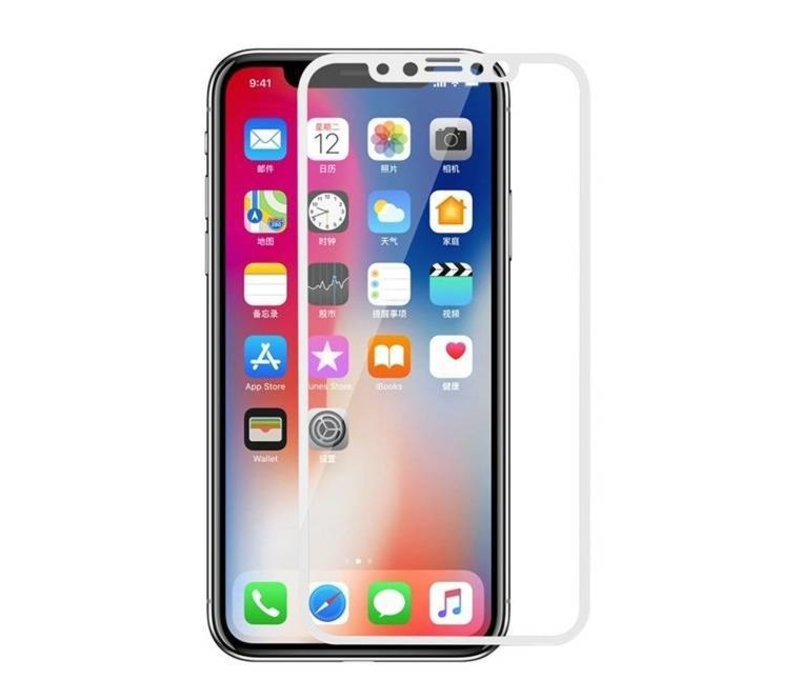 3D Tempered Glass voor iPhone X Wit