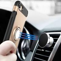 Pantser TPU Hoesje met Ring Houder voor iPhone X Grijs