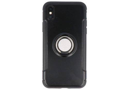 Pantser TPU Hoesje met Ring Houder voor iPhone X Zwart
