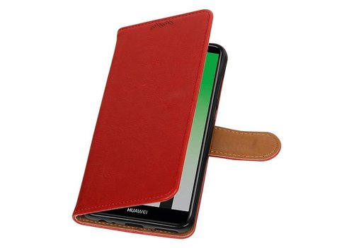 Pull Up PU Leder Bookstyle voor Huawei Mate 10 Lite Rood
