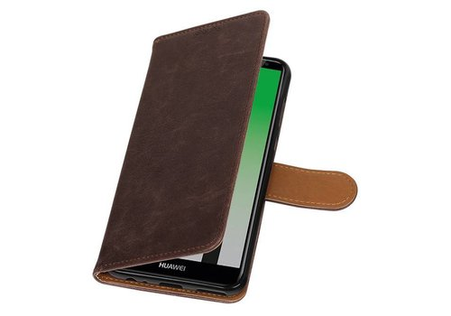 Pull Up PU Leder Bookstyle voor Huawei Mate 10 Lite Mocca