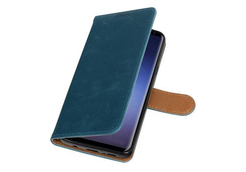 Pull Up TPU PU Leder Bookstyle voor Galaxy S9 Plus Blauw