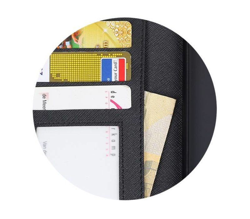 Cross Pattern TPU Bookstyle voor Huawei P10 Zwart