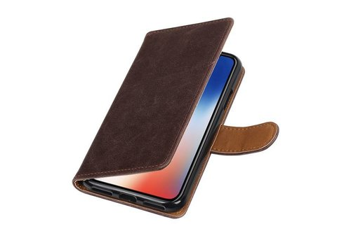 Pull Up TPU PU Leder Bookstyle voor iPhone X Mocca