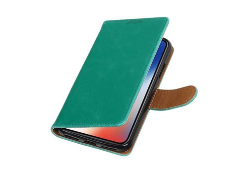 Pull Up TPU PU Leder Bookstyle voor iPhone X Groen