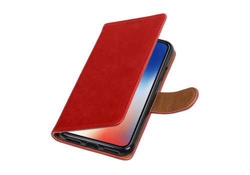 Pull Up TPU PU Leder Bookstyle voor iPhone X Rood