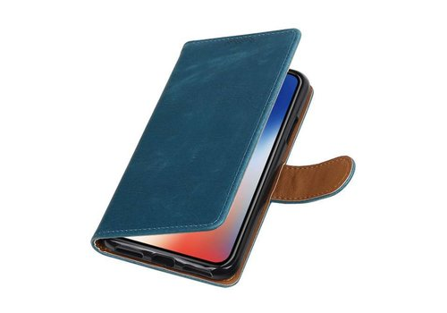 Pull Up TPU PU Leder Bookstyle voor iPhone X Blauw