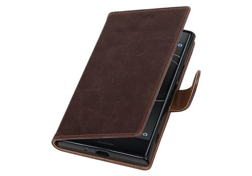 Pull Up TPU PU Leder Bookstyle voor Xperia XZ Premium Mocca