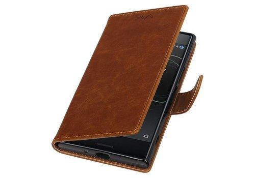 Pull Up TPU PU Leder Bookstyle voor Xperia XZ Premium Bruin