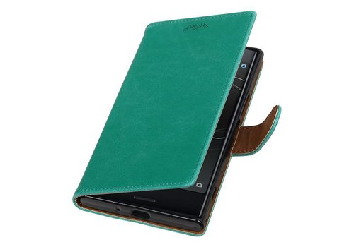 Pull Up TPU PU Leder Bookstyle voor Xperia XZ Premium Groen