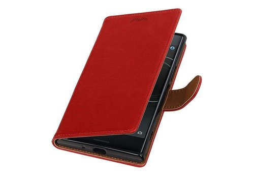 Pull Up TPU PU Leder Bookstyle voor Xperia XZ Premium Rood