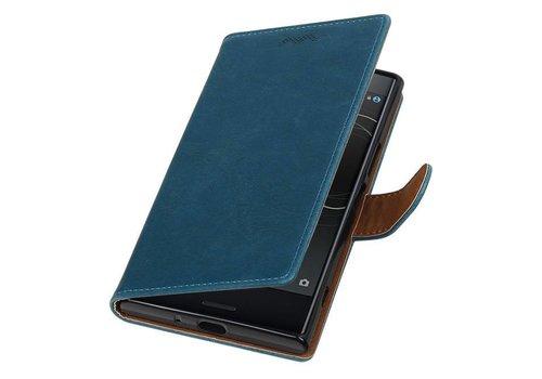 Pull Up TPU PU Leder Bookstyle voor Xperia XZ Premium Blauw