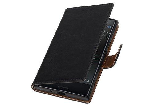 Pull Up TPU PU Leder Bookstyle voor Xperia XZ Premium Zwart