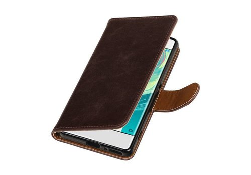 Pull Up TPU PU Leder Bookstyle voor Xperia XA 1 Mocca
