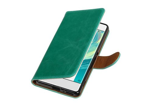Pull Up TPU PU Leder Bookstyle voor Xperia XA 1 Groen