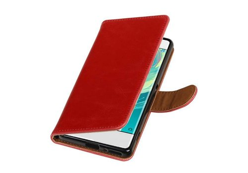 Pull Up TPU PU Leder Bookstyle voor Xperia XA 1 Rood