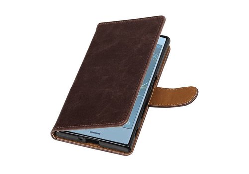 Pull Up TPU PU Leder Bookstyle voor Xperia XZs Mocca