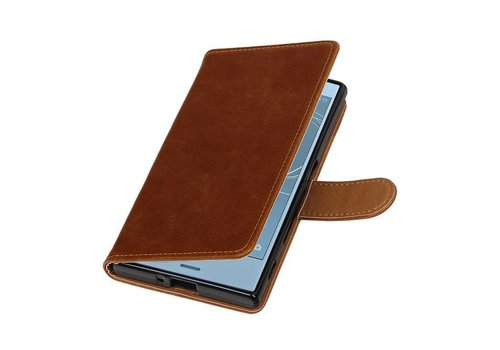 Pull Up TPU PU Leder Bookstyle voor Xperia XZs Bruin