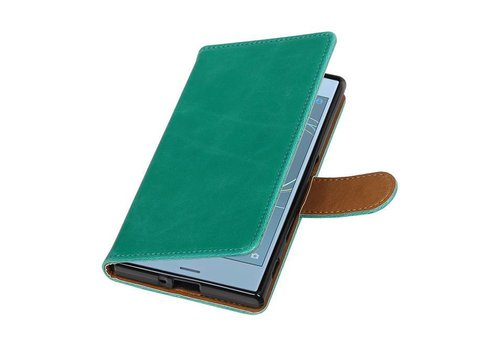 Pull Up TPU PU Leder Bookstyle voor Xperia XZs Groen