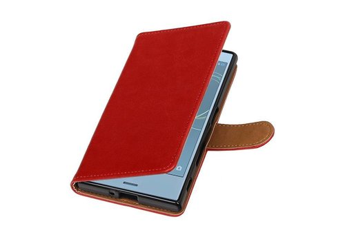 Pull Up TPU PU Leder Bookstyle voor Xperia XZs Rood