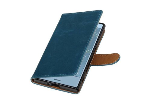 Pull Up TPU PU Leder Bookstyle voor Xperia XZs Blauw