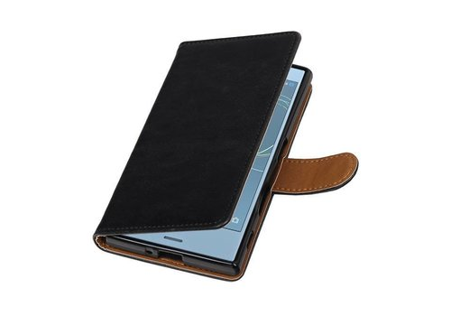 Pull Up TPU PU Leder Bookstyle voor Xperia XZs Zwart