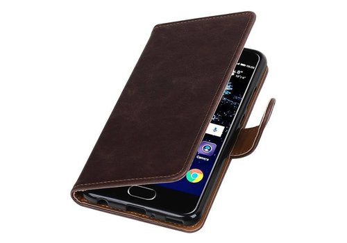 Pull Up TPU PU Leder Bookstyle voor Huawei P10 Plus Mocca