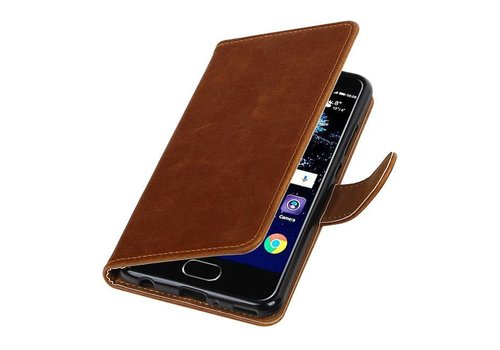 Pull Up TPU PU Leder Bookstyle voor Huawei P10 Plus Bruin