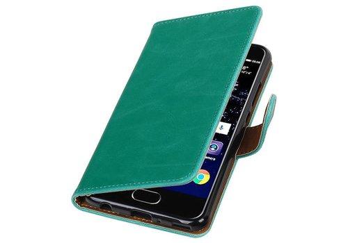 Pull Up TPU PU Leder Bookstyle voor Huawei P10 Plus Groen