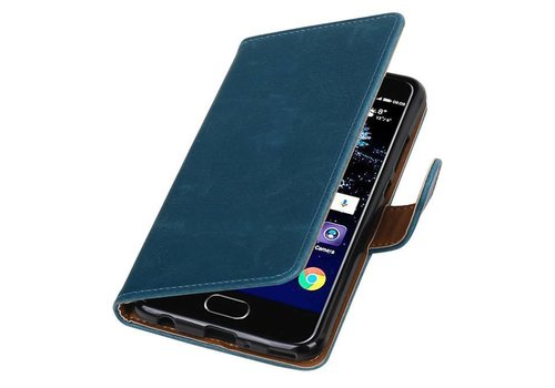 Pull Up TPU PU Leder Bookstyle voor Huawei P10 Plus Blauw