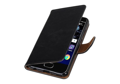Pull Up TPU PU Leder Bookstyle voor Huawei P10 Plus Zwart
