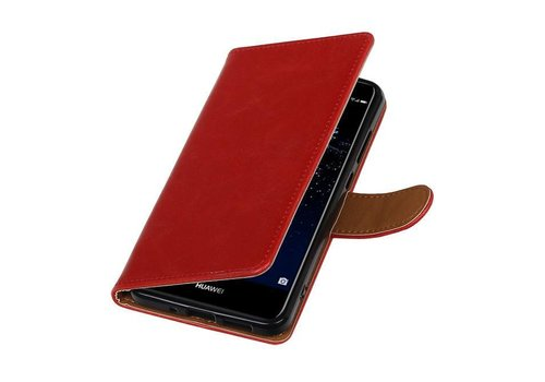 Pull Up TPU PU Leder Bookstyle voor Huawei P10 Plus Rood