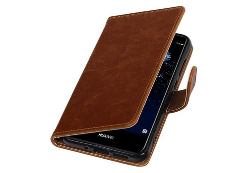 Pull Up TPU PU Leder Bookstyle voor Huawei P10 Lite Bruin