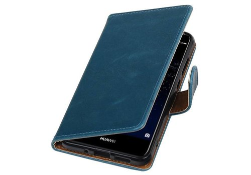 Pull Up TPU PU Leder Bookstyle voor Huawei P10 Lite Blauw