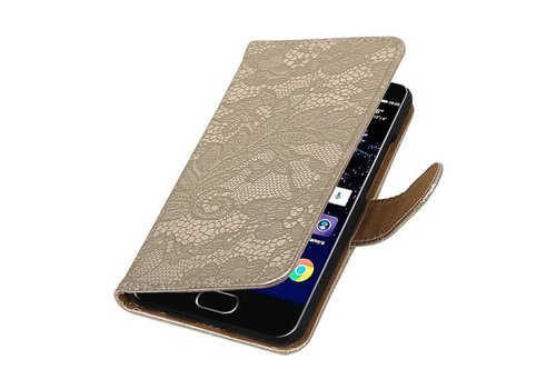Lace Bookstyle Hoes voor Huawei P10 Goud